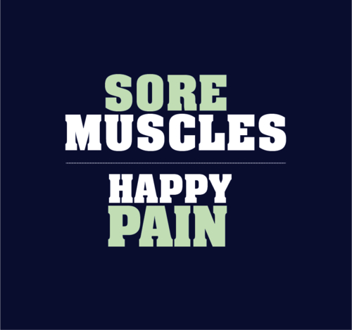 Sore muscles, happy pain. Fitness motivation.