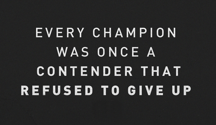 Refuse to give up... become the champ! Fitness motivation.