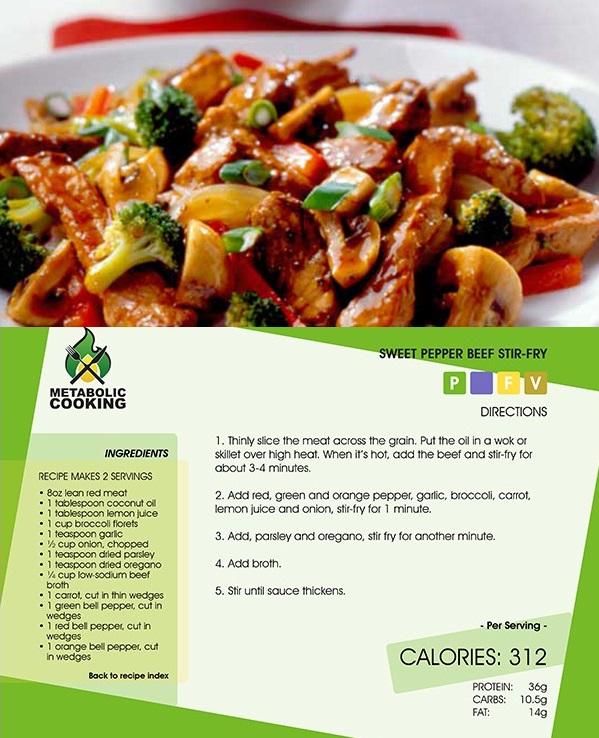 metabolic cooking recipe - sweet pepper beef stir-fry