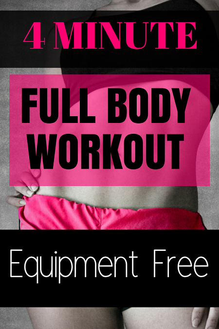 4 Minute Full Body Workout - Equipment Free. This short Tabata style workout will get you slim and trim in just minutes per day.