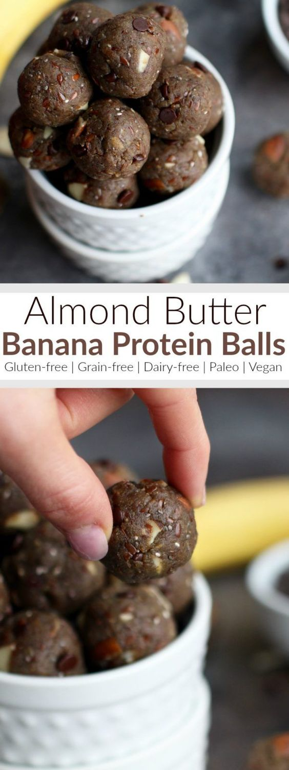 Almond Butter Banana Protein Balls are the perfect bite sized post workout snack. They contain a healthy source of proteins, fats, carbs and fiber... and only 5 grams of sugar per serving.