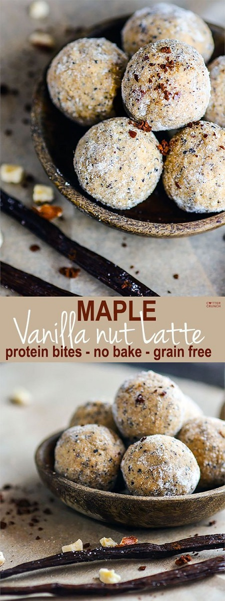 These No Bake Maple Vanilla Nut Latte Protein Bites are gluten free. Protein balls are super easy to make, healthy, and great pick me up after your workout, as an afternoon snack or even as breakfast