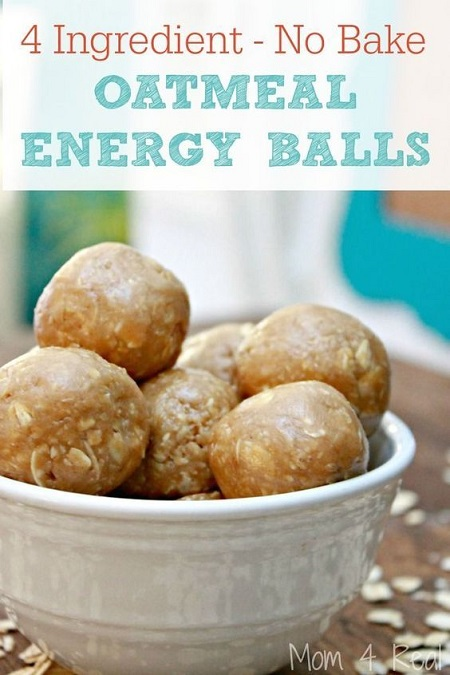 These fabulous 4 ingredient peanut butter oatmeal protein balls are so good! It only takes two of them to fill me up and re-energize after a workout