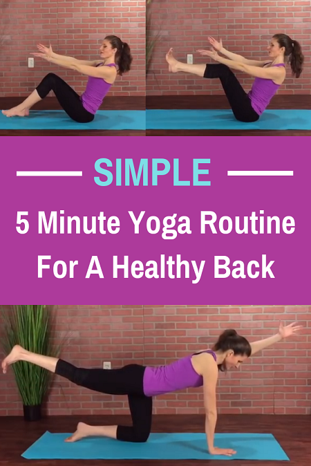 Simple 5 minute yoga routine for a healthy back. Great for back pain relief or prevention.