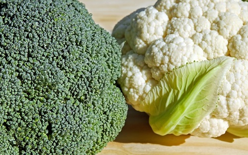 broccoli and cauliflower on table. Cruciferous vegetables.