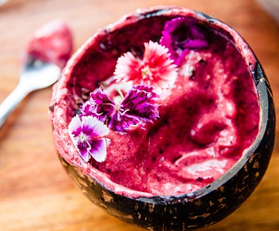 Chocolate beetroot smoothie bowl.
