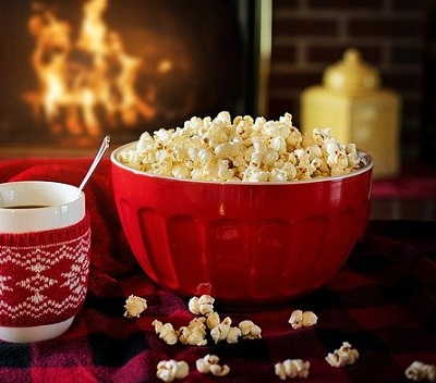 Popcorn by the fire.